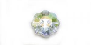 XE3 12mm Värvitu, läbipaistev, AB- kattega lillekujuline akrüülnööp