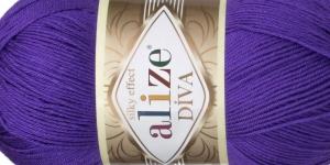 Siidja pinnaga akrüüllõng Diva Silk Effect, Alize, värv 252, lilla