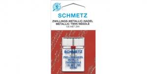 Twin Metallic thread Needle for Home Sewing Machines, Schmetz 3,0 mm / No.90