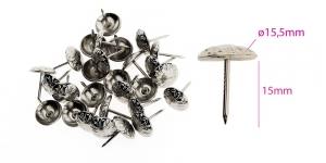Polstrinaelad, dekoratiivnaelad, kübara ø15,5 mm, pinnakate: nikeldatud, 25 tk PB11 KL0320