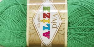 Siidja pinnaga akrüüllõng Diva Silk Effect; Värv 123 (Heledam roheline), Alize