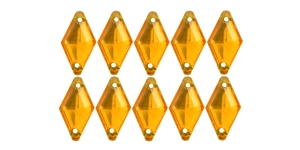 14x8mm Tumekollased, rombikujulised õmmeldavad dekoratiivkivid WM24