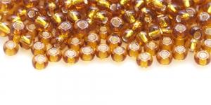 Terahelmed, seemnehelmed, Nr.5 (4,3-4.8mm), Preciosa Kuldpruunid, hõbedase, läikiva auguga HG84