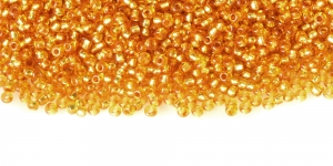 Terahelmed, seemnehelmed, Nr.11 (2-2.2 mm), Preciosa Oranžikaskuldsed, hõbedase, läikiva auguga, HI86
