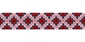 Korduva rombimustriga kaunistuspael 35mm, Art.35985FC, värv puna-valge