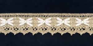 Puuvillane pits 1203-L2 laiusega 5 cm, värv linabeež valgega