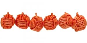 Oranž põimitud paela kattega helmes, 10mm, CB83