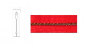 3890OX, Metal Zipper, zip fastener, 17cm-18cm, clear red, member width: 4mm, antique brass plated