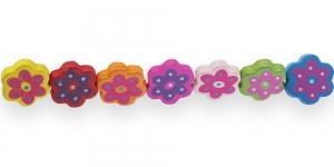 IL10 19x17,5x4,5mm Värviline kirju värvisegu lillekujuline lakitud puithelmes