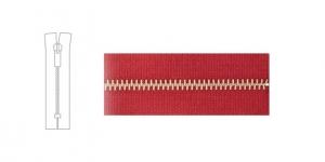 3488NI, 4mm hammastikuga metall-tõmblukk pikkusega 21cm-22cm, vaarikapunane, nikeldatud hammastikuga