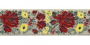 Lillekimpudega dekoratiivpael, laiusega 50 mm, värv 4B NATURALE, Art. 17147