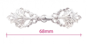 GG258NLF, Scandinavian Pewter Clasps, pair size: 68mm x 18mm, plating: bright silver shade