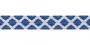 Korduva rombimustriga kaunistuspael 25mm, Art.25985FC, värv sini-valge
