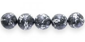 CE17 18mm Mustvalge lilleline polümeersavist ümar helmes