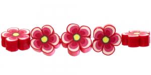 CE35 14x6mm Punasekirju lilleline polümeersavist helmes