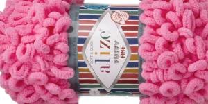 Pehme aasadega lõng Puffy Fine firmalt Alize, värv 121, tumeroosa