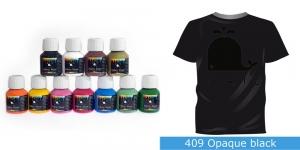 Kattev värv kanga värvimiseks pintsli, tampooni jms abil, Fabric Paint Opaque, 50 ml, Vielo, Värv: must, #409 Opaque black