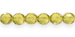 LH7A Ümar tahuline klaaspärl, Tšehhi, 14mm, Kollakasroheline läbipaistev