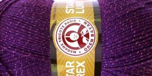 Metallikniidiga akrüüllõng Star Lurex, Madame Tricote, värv nr. 060M, lilla samatoonilise metallikniidiga