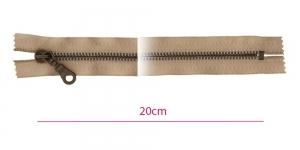 1841ОХ, Metall-tõmblukk pikkusega 20cm, 6mm antiikpronks hammastikuga, tumebeeš, Opti, ümar kelgu ripats