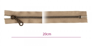 1841ОХ, Metallivetoketju, kiinteä, pituus 20cm, tumma beige, patinoitu pronssi