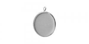 Hõbedane medaljonikujuline riputis, Antique Bronze Circular Pendant Base, 21 x 2mm, EG30