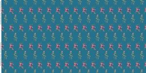 Puuvillane trikookangas lillede ja liblikatega Art.3805-07 rohekassinine