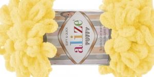 Pehme aasadega lõng Puffy Soft & Quick firmalt Alize, värv 216, tumekollane