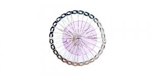 Hõbedane ja lilla, Silver Circular Wire Charm with Purple Adornment, 40mm, EG63