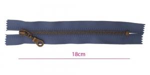 Metall-tõmblukk pikkusega 18cm, 6mm antiikpronks hammastikuga, tumedam sinine, Wico ümar kelgu ripats