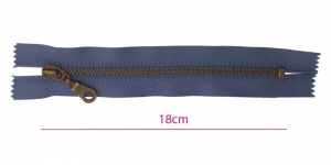Closed end Metal Zippers, zip fasteners, 18cm, color: blue, member width: 6mm antique brass