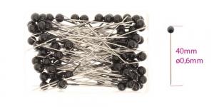 Plastpeaga nööpnõelad, must lakitud nupp; u. 100tk, 40 x ø0,6mm