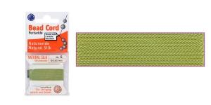 100% Silk Beading Thread, #5; ø0,65 mm, 2 m, color: jade, Beadalon JH05S-JADEX-C