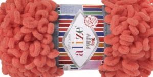 Pehme aasadega lõng Puffy Fine firmalt Alize, värv 526, roosakas oranz