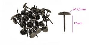 Polstrinaelad, dekoratiivnaelad, kübara ø15,5 mm, pinnakate: antiikteras, 25 tk, KL0325, PB21