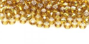 Terahelmed, seemnehelmed, Nr.5 (4,3-4.8mm), Preciosa Kuld-helepruunid, hõbedased, läikivad auguga HG73