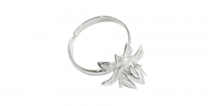Sõrmusetoorik Hõbedane / Silver Flower Finger Ring Base / 16mm / EA8