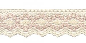 Puuvillane servapits 1424-X3 laiusega 6,5cm, Värv: Loodusvalge roosaga