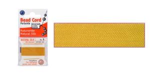 100% Silk Beading Thread; #5; ø0,65 mm, 2 m, color: Amber, Beadalon JH05S-AMBER-C