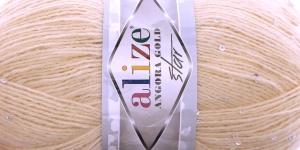 Villasisaldusega litrilõng Angora Gold Star, Alize, värv nr. 67, Kreemjas helebeež