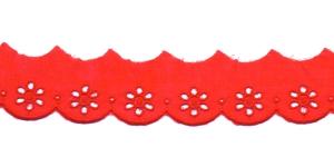 Luksuslik tikitud broderiipits laiusega 35mm I591-07, Värv: Punane