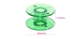 Стандартная пластиковая шпулька (для шпульного колпачка с ушком) зеленая