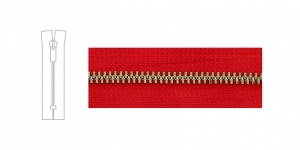 3890NI, 6mm hammastikuga metall-tõmblukk pikkusega 10cm-12cm, puhas punane, nikeldatud hammastikuga