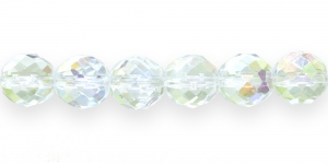 LG75A Ümar tahuline klaaspärl, Tšehhi, 12mm, Värvitu läbipaistev AB- kattega