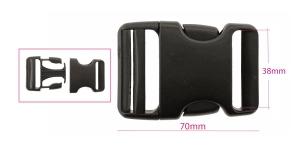 Plastikust pistlukk 47 mm x 70 mm, rihmale laiusega 35-40 mm, must, UG59