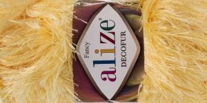 Karvane dekoratiivlõng Decofur, Alize, värv nr.187, kollane