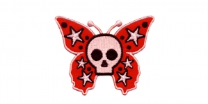 AF82 8x6cm Pealuu, punase liblika taustal, Skull on Butterfly Background