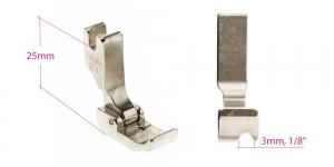 Kõrge kruvikinnitusega (tööstusliku õmblusmasina standard) paspuaalkanditald, 3 mm, renn paremal, KL0843