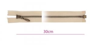 1825OX, Alt avatav 4mm hammastikuga metall-tõmblukk pikkusega 30cm, beeš, antiikpronks hammastikuga, Opti