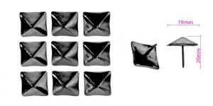 Polstrinaelad, dekoratiivnaelad, kübara ø15,5 mm, pinnakate: musat nikkel, 25 tk, KL0342, PB38